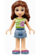 Minifig No: frnd073  Name: Friends Olivia, Sand Blue Skirt, Green Top with White Stripes
