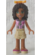 Minifig No: frnd075  Name: Friends Andrea, Tan Shorts, Bright Pink Top with Red Cross Logo and Scarf, Bright Light Orange Bow