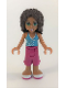 Minifig No: frnd078  Name: Friends Andrea, Magenta Cropped Trousers, Medium Azure Top with White Trim