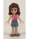 Minifig No: frnd079  Name: Friends Olivia, Sand Blue Skirt, Bright Pink Top with Magenta Trim