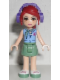 Minifig No: frnd080  Name: Friends Mia, Sand Green Skirt, Medium Blue Top with Red Cross Logo and Scarf, Dark Purple Headphones
