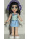 Minifig No: frnd082  Name: Friends Emma, Bright Light Blue Skirt, Light Aqua Top with Flower, Dark Purple Headphones