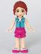 Minifig No: frnd098  Name: Friends Mia, Magenta Layered Skirt, Medium Azure Top with Cross Logo
