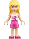 Minifig No: frnd102  Name: Friends Stephanie, Dark Pink Shorts, White Top with Stars