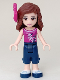 Minifig No: frnd105  Name: Friends Olivia, Dark Blue Cropped Trousers, Magenta Top, Magenta Bow