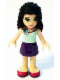 Minifig No: frnd108  Name: Friends Emma, Dark Purple Skirt, Light Aqua Top with Flower at Neck