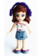 Minifig No: frnd109  Name: Friends Olivia, Sand Blue Skirt, White One Shoulder Top with Magenta Trim,  Headphones