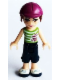 Minifig No: frnd110  Name: Friends Mia, Dark Blue Cropped Trousers, Lime and White Striped Top, Helmet