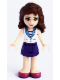 Minifig No: frnd111  Name: Friends Olivia, Dark Purple Skirt, White Top with Medium Azure Collar, Striped Inset