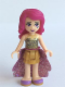 Minifig No: frnd120  Name: Friends Livi, Pearl Gold Layered Skirt, Gold Sequined Halter Top, Medium Lavender Sequined Cloth Skirt