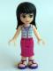 Minifig No: frnd131  Name: Friends Maya, Magenta Mid Length Skirt, White Plaid Button Shirt