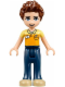 Minifig No: frnd138  Name: Friends Daniel, Dark Blue Trousers, Orange and Bright Light Yellow Polo Shirt