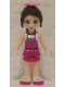 Minifig No: frnd142  Name: Friends Naomi, Magenta Layered Skirt, White Top with Magenta Apron, Bright Pink Flower