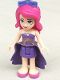 Minifig No: frnd146  Name: Friends Livi, Dark Purple Skirt, Dark Purple Top with Gold Stars Pattern, Dark Purple Cloth Skirt with Gold Stars, Sunglasses