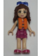 Minifig No: frnd151  Name: Friends Olivia, Magenta Layered Skirt, Sand Green Knotted Blouse Top over Magenta and Pink Striped Shirt, Life Jacket, Sunglasses