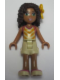 Minifig No: frnd152  Name: Friends Andrea, Tan Shorts, Tan Top with Bright Light Orange Chevron Stripes, Bright Light Orange Flower