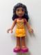 Minifig No: frnd155  Name: Friends Kate, Bright Light Orange Layered Skirt, Tan Top with Bright Light Orange Chevron Stripes