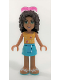 Minifig No: frnd169  Name: Friends Andrea, Medium Azure Skirt, Bright Light Orange Top with Music Notes, Sunglasses