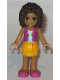 Minifig No: frnd176  Name: Friends Andrea, Bright Light Orange Layered Skirt, Magenta Vest Top