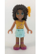 Minifig No: frnd190  Name: Friends Andrea, Light Aqua Layered Skirt, Bright Light Orange Top with Music Notes, Bow