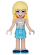 Minifig No: frnd191  Name: Friends Stephanie, Medium Azure Layered Skirt, White One Shoulder Top with Stars