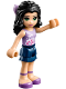Minifig No: frnd194  Name: Friends Emma, Dark Blue Layered Skirt, Lavender Top with Flowers, Lavender Bow