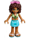 Minifig No: frnd197  Name: Friends Andrea, Medium Azure Skirt, Lime Swimsuit Top, Sunglasses