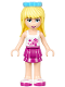 Minifig No: frnd201  Name: Friends Stephanie, Magenta Layered Skirt, White Top with Stars, Medium Azure Bow