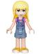 Minifig No: frnd202  Name: Friends Stephanie, Denim Overalls Skirt, Dark Pink Top