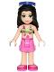 Minifig No: frnd204  Name: Friends Emma, Dark Pink Shorts, Lime Bikini Top, Sunglasses