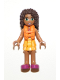 Minifig No: frnd205  Name: Friends Andrea, Bright Light Orange Layered Skirt, Tan Top with Bright Light Orange Chevron Stripes, Life Jacket