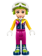 Minifig No: frnd222  Name: Friends Olivia, Magenta Trousers, Ski Jacket, Helmet, Goggles (41324)