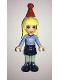 Minifig No: frnd225  Name: Friends Stephanie, Dark Blue Skirt, Medium Blue Fair Isle Sweater with Snowflakes Pattern, Red Christmas Hat