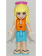 Minifig No: frnd229  Name: Friends Stephanie, Medium Azure Wrap Skirt, Dark Purple Top with Stars, Life Jacket, Sunglasses