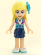 Minifig No: frnd234  Name: Friends Stephanie, Dark Blue Layered Skirt, Medium Azure and Dark Purple Vest, Medium Azure Bow