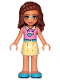 Minifig No: frnd235  Name: Friends Olivia, Bright Light Yellow Skirt, Dark Pink Top