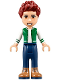 Minifig No: frnd237  Name: Friends Daniel, Brown Boots, Dark Blue Jeans, White and Green Top
