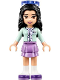 Minifig No: frnd238  Name: Friends Emma, Medium Lavender Layered Skirt, Light Aqua Top, Sunglasses (41332)