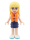 Minifig No: frnd246  Name: Friends Stephanie, Dark Blue Layered Skirt, Medium Azure and Dark Purple Top, Life Jacket
