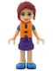 Minifig No: frnd247  Name: Friends Mia, Dark Purple Shorts, Lime Top, Life Jacket