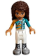 Minifig No: frnd253  Name: Friends Andrea, White Trousers, Bright Light Orange and Dark Turquoise Racing Jacket (41349)