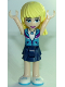 Minifig No: frnd256  Name: Friends Stephanie, Dark Blue Layered Skirt, Medium Azure and Dark Purple Jacket