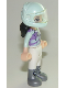Minifig No: frnd261  Name: Friends Emma, White Trousers, Light Aqua and Medium Lavender Racing Jacket, Light Aqua Racing Helmet with Black Ponytail
