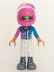 Minifig No: frnd268  Name: Friends Olivia, White Trousers, Dark Pink and Dark Azure Racing Jacket, Dark Pink Racing Helmet with Reddish Brown Ponytail