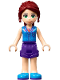 Minifig No: frnd274  Name: Friends Mia, Dark Purple Shorts, Dark Azure Plaid Shirt, Dark Red Ponytail