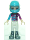 Minifig No: frnd277  Name: Friends Stephanie, White Trousers, Medium Azure and Magenta Racing Jacket, Helmet