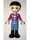 Minifig No: frnd285  Name: Friends Stephanie, Medium Blue Pants, Magenta Jacket, Riding Helmet with Bright Light Yellow Ponytail