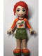 Minifig No: frnd289  Name: Friends Mia, Olive Green Shorts, White Top with Orange Sleeves and Acorns
