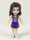 Minifig No: frnd294  Name: Friends Emma, Dark Purple Skirt, Medium Lavender Top with White Birds, Sand Blue Vest