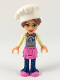 Minifig No: frnd295  Name: Friends Olivia, Dark Pink Skirt and Dark Blue Leggings, Sand Green Sweater with Bright Yellow Jacket, Chef's Toque
